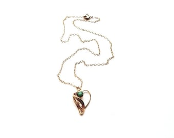 Vintage Gold 1/20 12KT GF Necklace with Filigree Heart and Green Stone Pendant