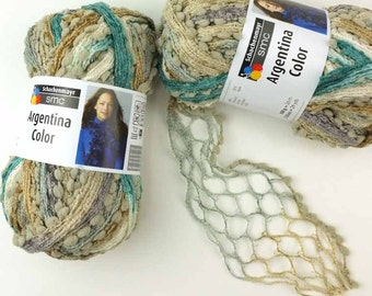 Ruffle Scarf Yarn, 2 pack SALE Argentina, Mineral mix, beige, teal