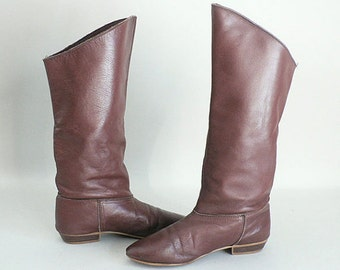 Womens 6.5 Tall Brown Leather Winter Boots