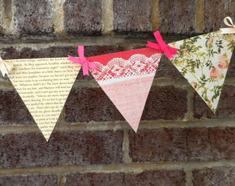 Little Women Paper Pennant Banner / Book Page Decor / Bridal Shower Decoration / Birthday / Party / Bunting / Garland
