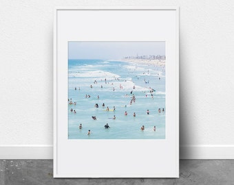 Beach Print, Printable Wall Art, Ocean Print, People Swimming, Photography Print, Ocean Art, Beach Decor, Ocean Waves, Coastal Decor, Summer