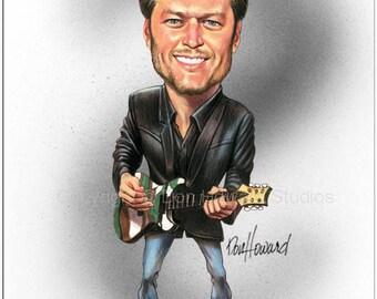 Don Howard's Depiction of Blake Shelton Celebrity Caricature