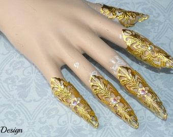 Fantasy claw (gold / iridescent rhinestones)