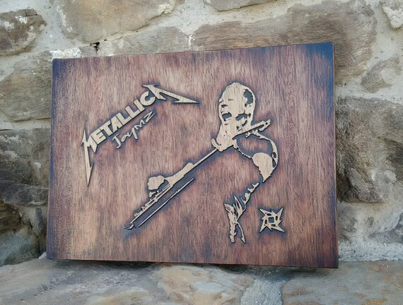 Metallica wall decor music fan wood art carved picture plaques