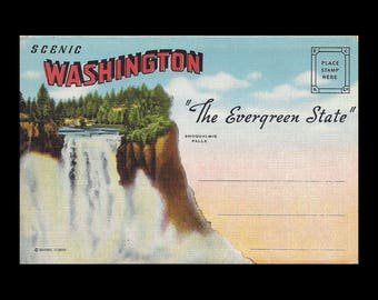 1940s Washington State Souvenir Postcard Folder