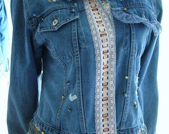 Large size, 6 - 10. Recycled, upcycled, repurposed blue ivory cotton denim long sleeve jacket