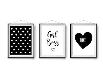 Digital Prints, Black & White Art, Set Of 3 Prints, Girl's Room Decor, Wall Art, Triptych, Home Decor, Scandinavian Prints, Minimalist Print