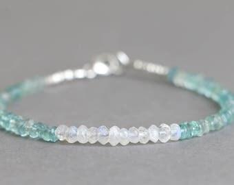 Aquamarine Bracelet Beaded Bracelet March Birthstone Moonstone and Aquamarine Gemstone Bracelet
