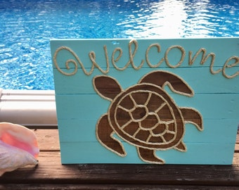 "Handmade ""Welcome"" Turtle with Rope Beach Pallet Art Coastal Decor Nautical Art Rope Art Pallet Art"