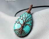 Tree of life pendant, turquoise necklace, wire tree-of-life, treeoflife jewelry, wire wrapped jewelry, birthday gift, copper tree of life