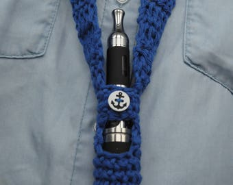 Durable Cotton electronic cigarette neck pouch embellished with a button