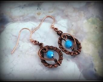 Turquoise Swarovski Crystal Earrings, Copper and Turquoise Earrings, Wire Wrapped Earrings, Wire Wrapped Jewelry, Copper Jewelry, Turquoise