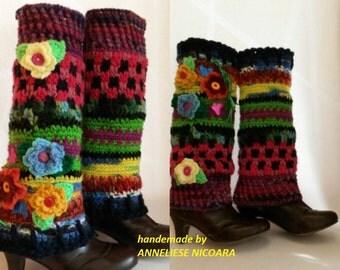 Crochet colorful leg warmers with flowers/Bohemian Leg warmers mit Blumen
