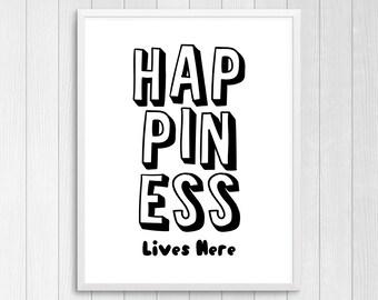 Printable Art, Happiness Lives Here, Nursery Room Decor, Kids Room Art, Nursery Print Art, Wall Art For Kids, Baby Gift, Kids Room Decor