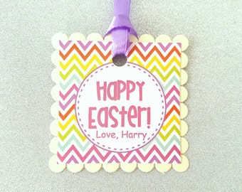 Items similar to happy easter kids cute easter gift tags happy easter tags negle Choice Image