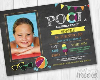 Pool Party Photo Invitation Birthday Invite Swimming INSTANT DOWNLOAD Beach Children Personalize TWINS Editable Digital Printable Template