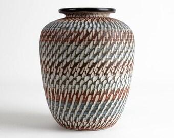 Ceramic vase brown white sgraffito pattern 50s, west german pottery, Mid Century, modernist