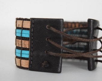 Unisex bracelet braided turquoise leather and Cork, made in Italy