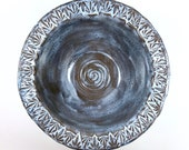 Blue Ice Serving Bowl / Rustic Pottery
