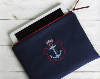 """case for tablet 9,7"""" handembroidered coat of arms crown & anchor made of blue cotton 9.7 inch tablet men accessories case for iPad eReader"""