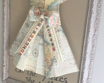 Vintage Map Dress, framed//Oh the places she'll go, Graduation gift/ Mother's Day gift/ Nursery Decor/Home Deocr