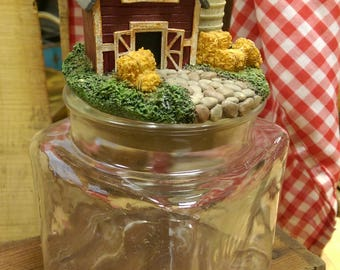 Glass Canister with Farm Scene Lid