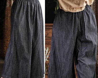 Grey Linen Women Pants Wide Legs Pants Elastic Waist Plus Size Loose Style Pants