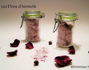 Sel de bain Rose aux herbes médicinales pétales de rose et bois de Hô / Rose herbal bath salt rose petals and Ho wood