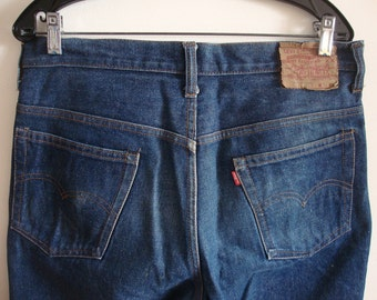 70s Vtg LEVIS Jeans 517 - 0217 Boot Cut~TALON Zipper 42~#8 Button~A Little Dirty~34x30~Red Tab~Awesome Looking 80s Vintage Grunge~Made USA