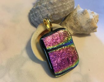 Dichroic Glass Pendant; Fused Glass Pendant; Dichroic Glass Necklace; Fused Glass Necklace; Pink; Rainbow; Colorful; Multicolor; Gifts