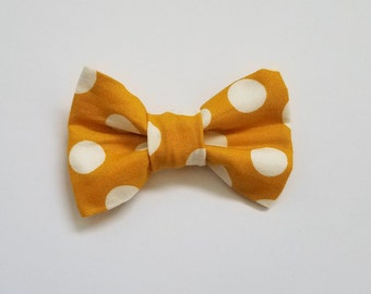 Mustard Polka Dot Yellow Bow Tie, Baby Toddler Boy Clip-on Bow Tie, Custom, Baby Shower, Baby Gift, Baby Pictures, Formal Wear, Dapper