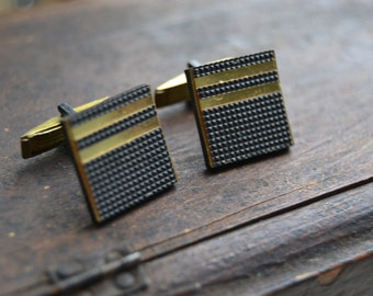 Pair of Soviet Vintage CuffLinks, Gold tone, Memorabilia of the 1970s, Vintage cuff links