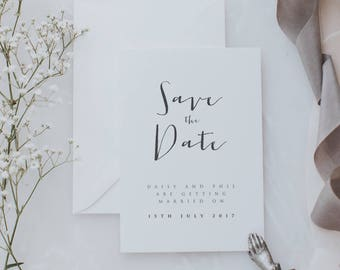 Printed Simple and Rustic Save the Date Cards. Stylish Font Save the Date Cards. Boho Save the Date card with Envelopes