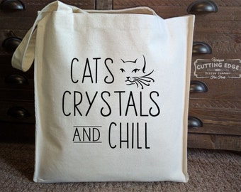 Cats Crystals and Chill Cotton Canvas Market Tote Bag | Reiki Crystals | Crystal Healing | Crystals and Cats | Healing Crystals |Market Tote