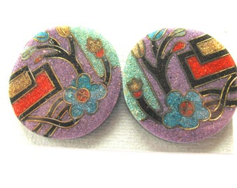 Earrings, post earrings, multicolor, geometric design, resin earrings, 35mm diameter B-1559