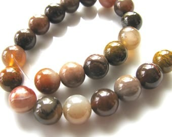 Agate beads, wood Agate, 22 beads, 8mm, shades of brown and tan, Jewelry supply B-1675