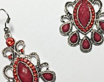 Red Crystal Tibetan Silver Earrings
