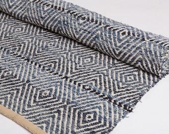 Denim blue Rug, Made of recycled jeans, Woven Rug, Cotton Rug, Handmade, Living room, Rag Rug, Scandinavian rug, MADE TO ORDER