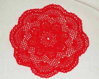 Red Pineapple Doily