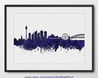Sydney Skyline Print Navy Blue Stars N2, Sydney Cityscape, Australia Print, Sydney Watercolor Art  Home Decor Sydney Colorful Poster (A0532)
