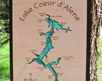 Lake Coeur d'Alene Wood Map