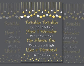 Twinkle twinkle little star wall art, Nursery wall art, Twinkle twinkle little star, nursery rhyme prints, nursery prints, baby wall art