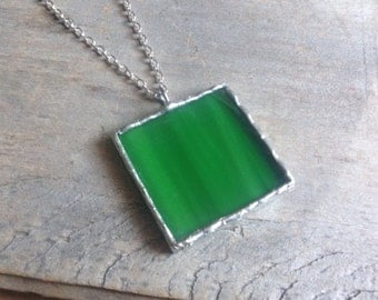 Glass jewelry gift, her Christmas, square necklace, under 25, green glass pendant, geometric green, emerald glass, stained glass pendant