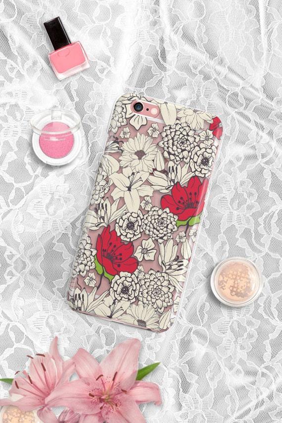 iPhone 7 case Clear iPhone 7 Plus case Transparent iPhone 6 case Rubber Floral iPhone 6s  case Samsung S6 case Clear Samsung Galaxy S7 case