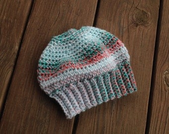 Messy Bun Hat - Teal and Coral