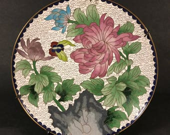 """Chinese Cloisonne Dish With Butterfly and Peonies 8"""""""