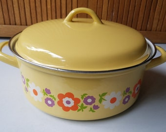 Vintage Yellow Enamel Soup Pot and Lid