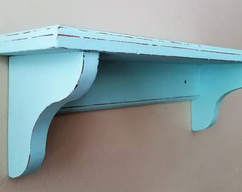 Hand Painted Mint Green Cottage Chic Wall Shelf