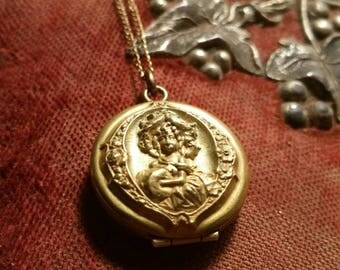 Antique Victorian mourning locket photo with locks of hair