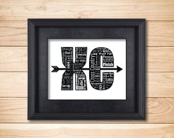 Cross Country / Word Art Typography / Wall Art / Home Decor / Coach Unique Gift / XC Running Meet Start Finish Pace Yourself